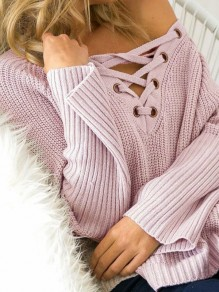 Pink Drawstring Long Sleeve Round Neck Casual Sweet Going out Pullover