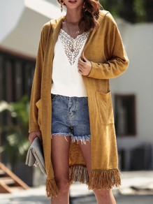 Camel Pockets Tassel Hooded Long Sleeve Oversize Cardigan Sweater