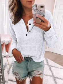White Buttons Pockets Round Neck Long Sleeve Casual Pullover Sweater