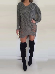 Grey Cut Out Irregular Tassel Round Neck Long Sleeve Casual Sweater