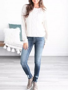 White Cut Out Long Sleeve Casual Going out Pullover Sweater