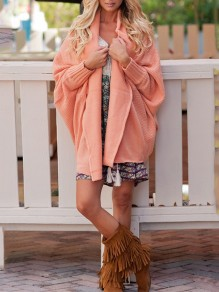 Pink Irregular V-neck Dolman Sleeve Casual Cardigan Sweater