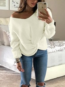 White One Shoulder Irregular V-neck Long Sleeve Casual Pullover Sweater