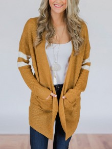 Yellow Striped Pockets Long Sleeve Going out Casual Cardigan Sweater