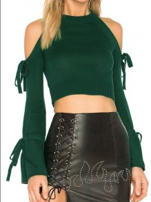 Dark Green Cut Out Bow Round Neck Long Sleeve Fashion Pullover Sweater