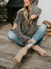 Grey Cut Out Round Neck Sweet Going out Pullover Sweater