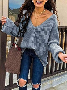 Grey V-neck Long Sleeve Going out Casual Pullover Sweater