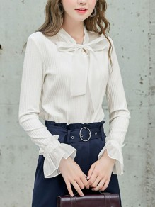White Patchwork Bow V-neck Long Sleeve Fashion Pullover Sweater