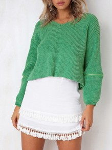 Green Zipper V-neck Long Sleeve Going out Pullover Sweater