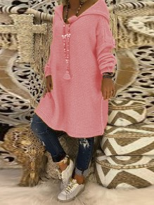 Pink Hooded Long Sleeve Casual Pullover Sweater