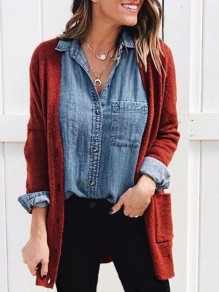 Burgundy Pockets V-neck Long Sleeve Casual Cardigan Sweater