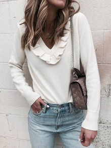 White Ruffle V-neck Long Sleeve Casual Pullover Sweater