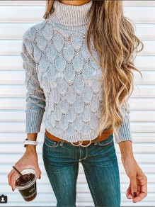 Grey Patchwork Tassel High Neck Fashion Pullover Sweater