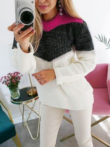 White Color Block Print Round Neck Oversize Casual Pullover Sweater