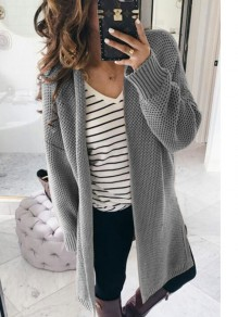 Grey Patchwork V-neck Long Sleeve Casual Cardigan Sweater