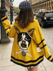 Yellow Patchwork Print Pockets V-neck Casual Cardigan Sweater