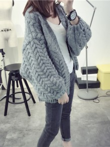 Grey Patchwork V-neck Casual Cardigan Sweater