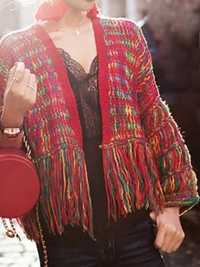 Red Colorful Tassel V-neck Long Sleeve Going out Cardigan Sweater
