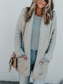 Grey Cut Out Pockets V-neck Long Sleeve Casual Cardigan