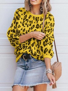 Yellow Leopard Print Round Neck Lantern Sleeve Casual Pullover Sweater