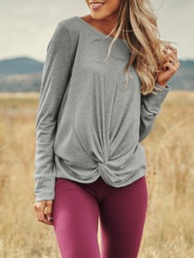 Grey Irregular Round Neck Long Sleeve Casual Pullover Sweater