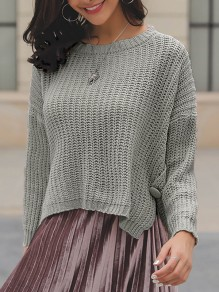 Grey Buttons Slit High-low Round Neck Long Sleeve Pullover Sweater