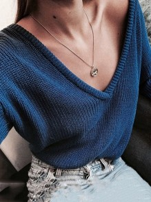 Blue V-neck Long Sleeve Casual Pullover Sweater
