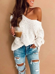 White Cut Out V-neck Long Sleeve Fashion Pullover Sweater