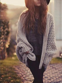 Grey Irregular Long Sleeve Round Neck Fashion Sweater