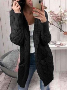 Black Pockets Hooded Long Sleeve Oversize Cardigan Sweater