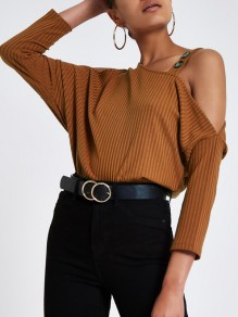 Brown Cut Out Buttons Long Sleeve Fashion Pullover Sweater