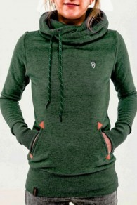 Green Animal Pockets Badge Drawstring Hooded Long Sleeve Casual Hooded Sweatshirt