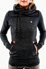 Black Animal Pockets Badge Drawstring Hooded Long Sleeve Casual Hooded Sweatshirt