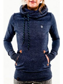 Blue Animal Pockets Badge Drawstring Hooded Long Sleeve Casual Hooded Sweatshirt