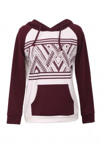 Burgundy Floral Print Pockets Drawstring Hooded Oversized Casual Pullover Sweatshirt