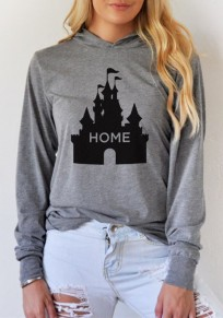 Grey Disney Castle Home Print Oversized Casual Long Sleeve Hooded Pullover Sweatshirt