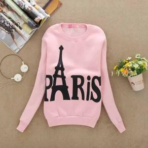 Felpa stampa floreale girocollo manica lunga maglione casuale rosa