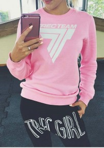 Pink Letter Print Round Neck Long Sleeve Sweet Pullover Sweatshirt
