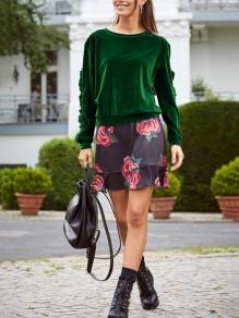 Felpa semplice volant girocollo maglione fashion verde