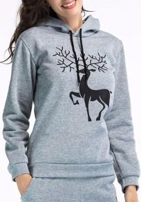 Felpa cervo animale coulisse con cappuccio manica lunga natale grigio