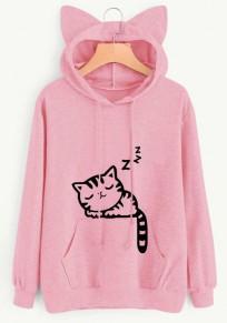 Felpa stampa di gatto orecchie di gatto cordoncino tasche graziose con cappuccio rosa