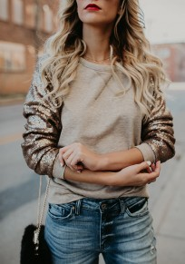 Golden Patchwork Sequin Glitter Round Neck Long Sleeve Casual Sweatshirt