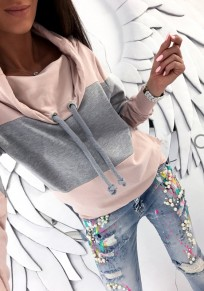 Pink Patchwork Print Drawstring Cowl Neck Casual Pullover Sweatshirt