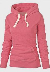 Felpa tasche coulisse cappuccio manica lunga maglione rosa