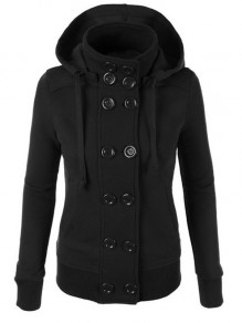 Black Pockets Double Breasted Hooded Casual Sweatshirt