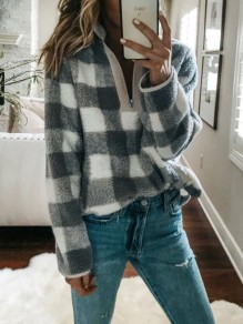 Grey-White Plaid Zipper V-neck Fur Fazzy Turndown Collar Casual Sweatshirt