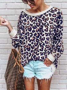 Red Leopard Print Oversize Long Sleeve Round Neck Fashion Casual Slouchy Pullover Sweatshirt