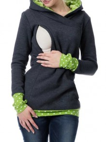 Grey Green Polka Dot Cut Out Pockets Zipper Hooded Casual Maternity Sweatshirt