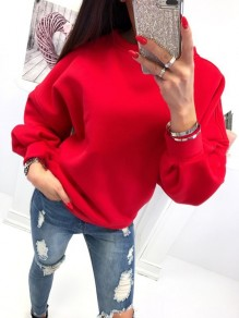 Red Cut Out Round Neck Long Sleeve Fashion Pullover Sweatshirt