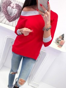 Red Patchwork Round Neck Long Sleeve Fashion Pullover Sweatshirt